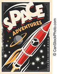 海報, 船, retro, 火箭, 空間