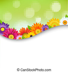 海報, 花, 鮮艷, gerbers