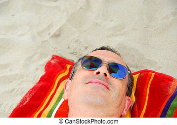 海灘, 人, 太陽鏡, 放鬆