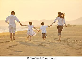 海灘, 傍晚, 家庭, 愉快, 樂趣, 有, 年輕