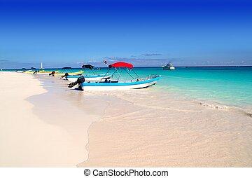 海灘, 加勒比海, 熱帶, 小船, 夏天
