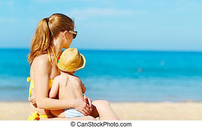 海灘, 夏天, 家庭, 兒子, 嬰孩, 愉快, 母親