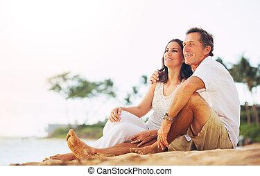 海灘, 夫婦, 享用, 傍晚, 成熟
