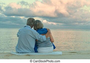 海灘, 夫婦, 年長