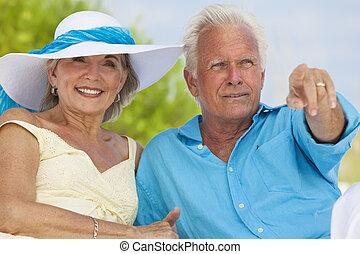 海灘, 夫婦, 熱帶, 愉快, 海, 指, 年長者