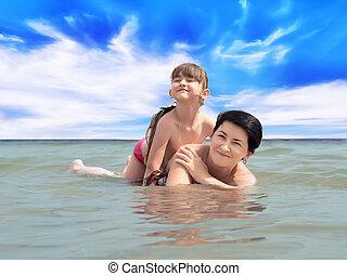 海灘, 家庭, 愉快