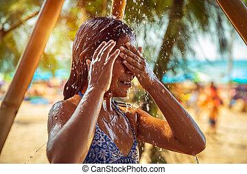 海灘, 很少, 陣雨, 女孩, 拿