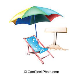 海灘, 插圖, 椅子, 木制, 招貼