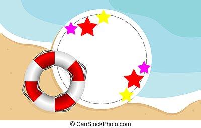 海灘, 旗幟, 背景, 圓