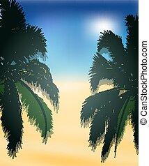 海灘, 棕櫚, 背景, 樹