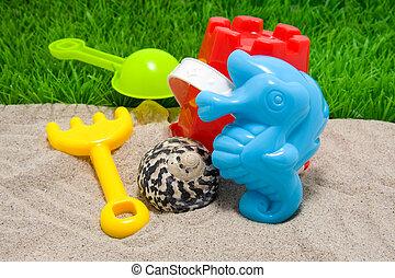 海灘, 玩, 塑料, 玩具
