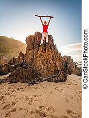 海灘, 精力旺盛, 促進, 婦女, 健身