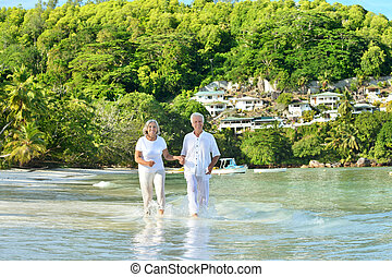 海灘, 跑, 夫婦, 年長