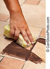 測試, 地板, 顏色, 陶瓷, 聯接, tiling
