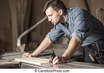 測量, 使用, 磁帶, 年輕, 木匠