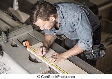 測量, 使用, 磁帶, 木匠