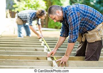 測量, 木頭, 站點, 建設, 磁帶, 木匠