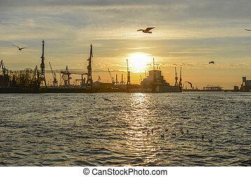 港口, 晚上, 漢堡