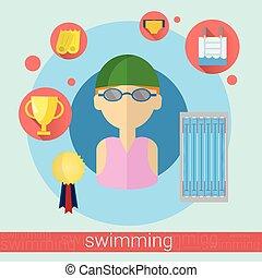 游泳者, 人, 圖象, 游泳