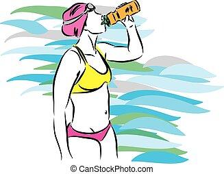 游泳者, 水, 喝酒, 專業人員, 矢量, 插圖