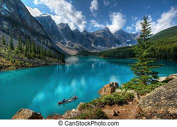 湖, 公園, 國家, banff, 冰磧