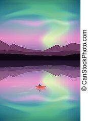 湖, borealis, canoeing, 小船, 極光, 冒險