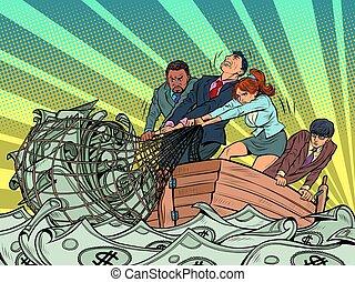 漁夫, 金融, 商務喜歡, 利潤, 錢网, 抓住, 做, 隊