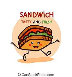 漂亮, 三明治, 卡通, 標識語