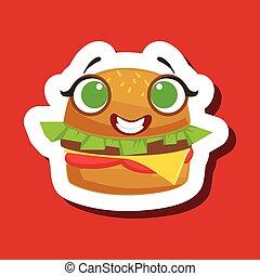 漂亮, 三明治, 屠夫, burger, 背景, 微笑, 紅色, emoji