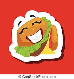 漂亮, 三明治, 屠夫, burger, 背景, 微笑, emoji, 紅色, 愉快