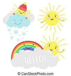 漂亮, 云霧, 彩虹, 陽光普照, 插圖, 矢量, 太陽, 卡通