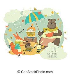 漂亮, 動物, 書, 荒野, 女孩讀物