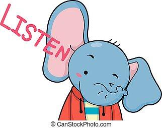 漂亮, 大象, 聽