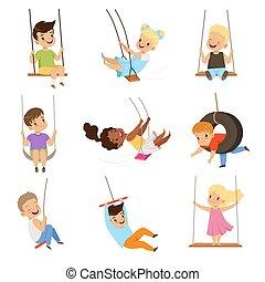 漂亮, 很少, 孩子, 搖擺, 搖擺, 女孩, 插圖, 繩子, 男孩, 矢量, 背景, 樂趣, 白色, 戶外, 有