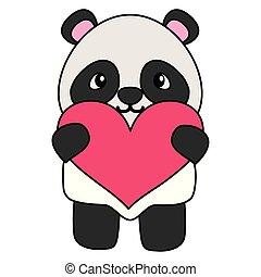 漂亮, 很少, 愛心, 熊, 熊貓