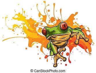 漂亮, 很少, 矢量, 插圖, frog.