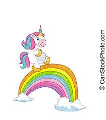 漂亮, 微笑, 白色, 被隔离, 彩虹, 獨角獸, 橋梁, 云霧, 很少