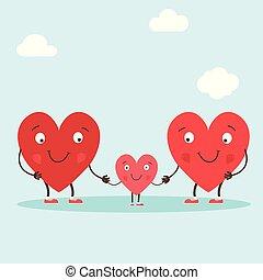 漂亮, 愛, 字符, 鮮艷, family., 家庭, 分享, 插圖, 手, 符號, 矢量, 父母, -, 心, 畫, lettering., 你, child.