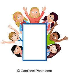 漂亮, 框架, 孩子, 卡通