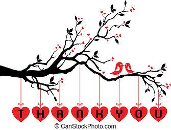 漂亮, 樹, 鳥, 紅色, 心