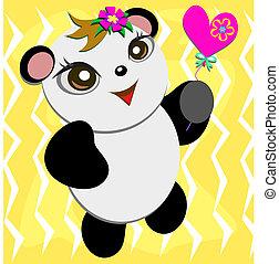漂亮, 熊貓, 心