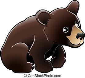 漂亮, 熊, 美國人, 矢量, 黑色, 插圖