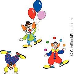 漂亮, 狂歡節, set., 字, 小丑, invitation., 生日, 設計, 黨, 或者