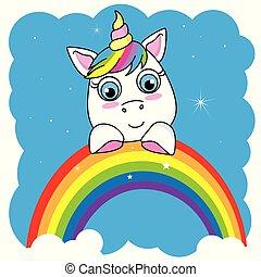 漂亮, 獨角獸, 卡通, 彩虹