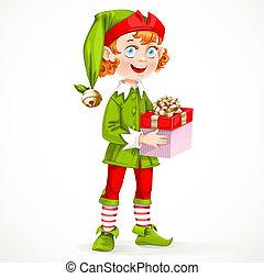 漂亮, 禮物, 助理, 小精靈, 被隔离, 聖誕老人的, 年` s, 背景, 新, 白色, 握住