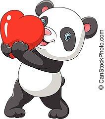 漂亮, 紅的熊貓, 心