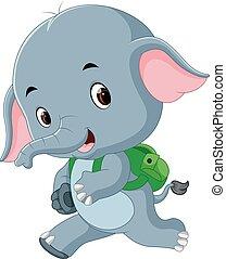漂亮, 背包, 大象