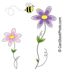 漂亮, 花, 蜜蜂