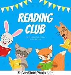 漂亮, 荒野, 圖書館, 卡通, 矢量, 插圖, 社區, 俱樂部, 閱讀, 孩子, 書店, 書, 教育, 設計, 動物