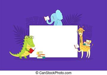 漂亮, 荒野, 板, 卡通, 鱷魚, african, 長頸鹿, 矢量, 旗幟, 閱讀, 插圖, 大象, 空白, 書, 簽署, 動物